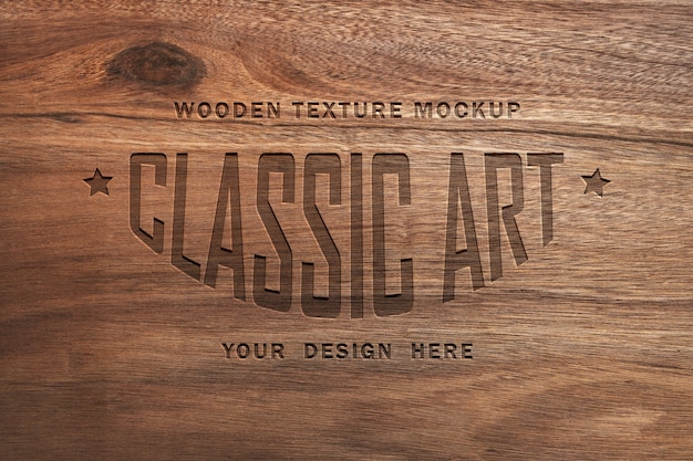 Wooden texture mockup and engraved wood text effect Premium Psd