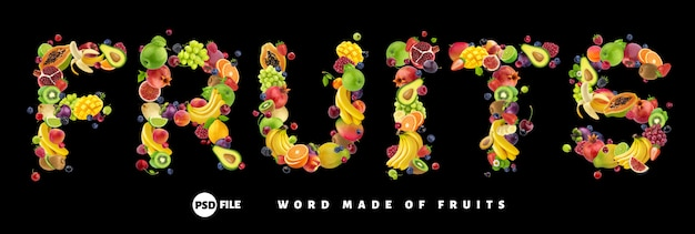 Word fruits made of different fruits and berries Premium Psd
