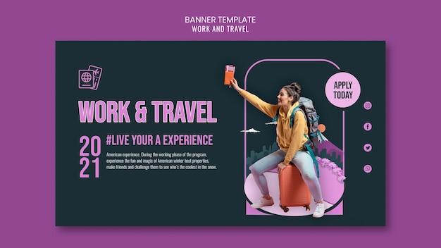 Шаблон баннера для работы и путешествий Бесплатные Psd