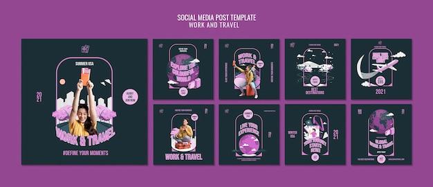 仕事と旅行のソーシャルメディア投稿テンプレート 無料 Psd