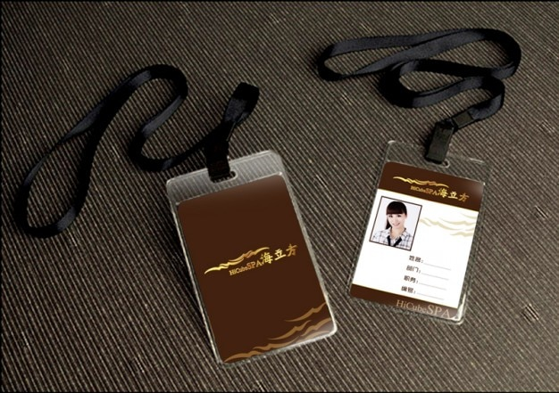 Work Card Template With Lanyard PSD File Free Download - Free lanyard template
