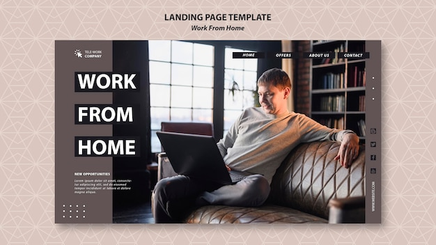 Work from home concept landing page template Free Psd