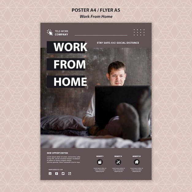 Work from home concept poster template Free Psd