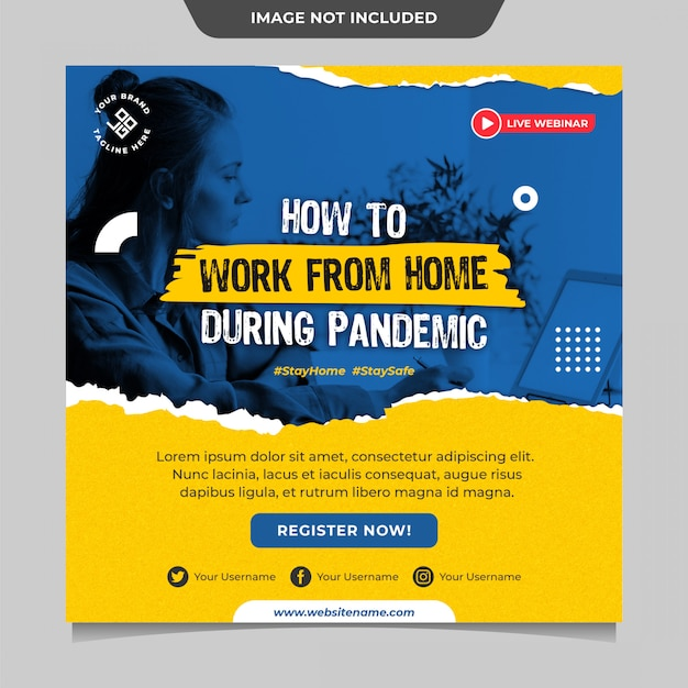 Work from home during pandemic social media post template Premium Psd