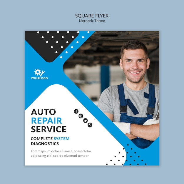 Worker being happy as mechanic square flyer Free Psd