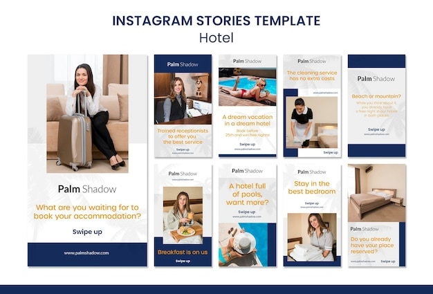 Workers and clients hotel instagram stories Premium Psd