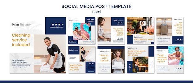 Workers and clients hotel social media post Premium Psd