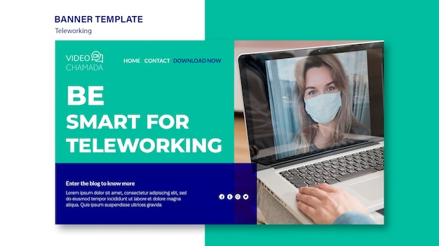 Working from home banner template Free Psd