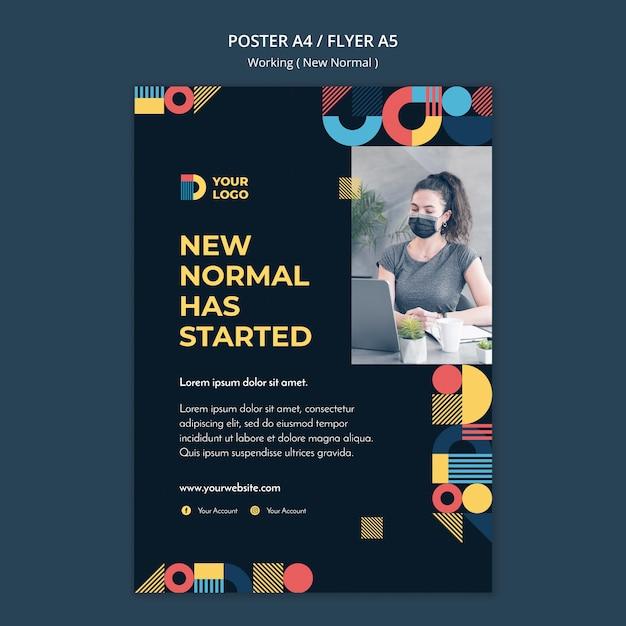 Плакат, работающий по-новому Бесплатные Psd