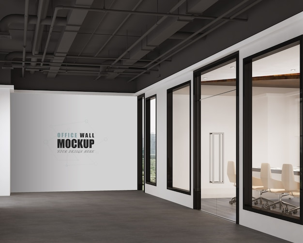 Premium Psd Working Space With Modern Industrial Design Wall Mockup