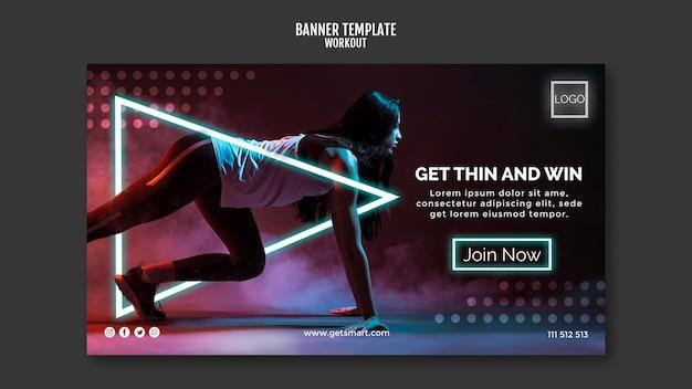 Workout concept banner template design Free Psd