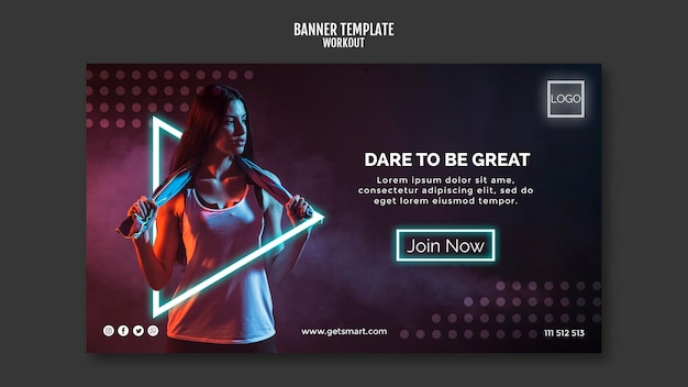 Workout concept banner template Free Psd