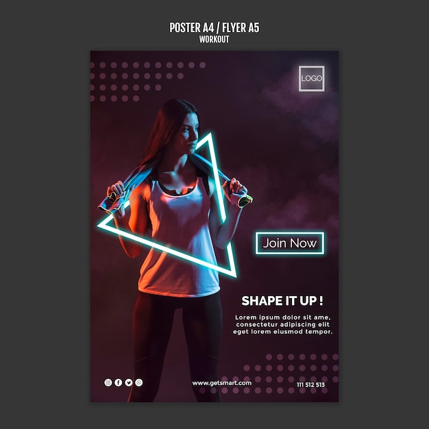 Workout concept flyer template Free Psd