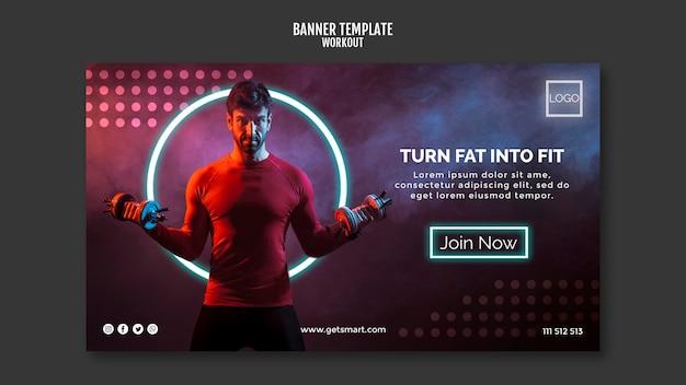 Workout concept horizontal banner template Premium Psd