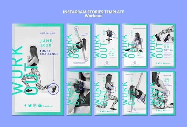Тренировка концепции instagram истории Бесплатные Psd