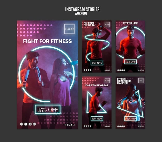Workout concept instagram stories Free Psd