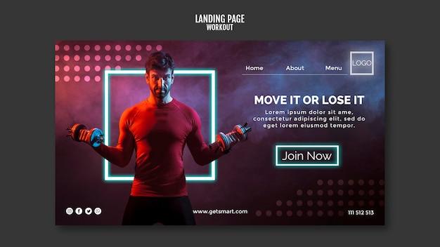 Workout concept landing page design Free Psd
