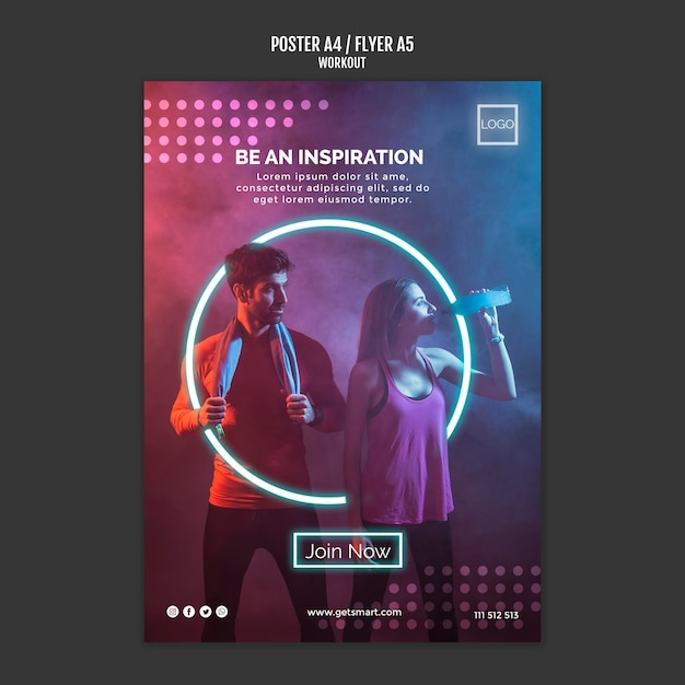 Workout concept poster style Free Psd