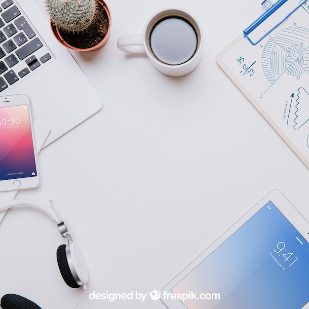 Workspace Mockup From Above With Copyspace Psd File Free Download
