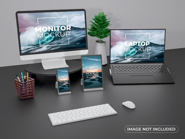 ワークスペースモニター、ラップトップ、電話、タブレットディスプレイのモックアップ Premium Psd