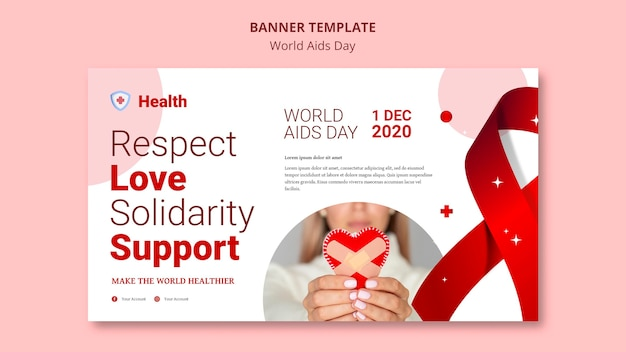 Шаблон баннера всемирного дня борьбы со спидом Бесплатные Psd