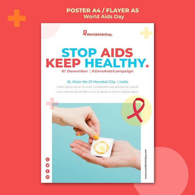 세계 에이즈의 날 포스터 템플릿 무료 PSD 파일