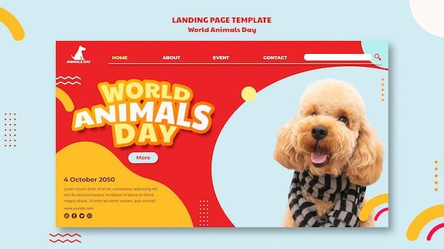 Шаблон целевой страницы всемирного дня животных Бесплатные Psd