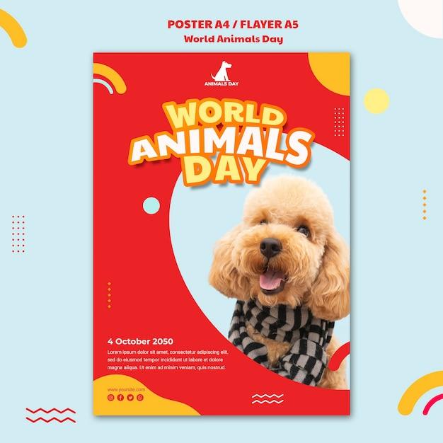 Шаблон плаката всемирного дня животных Бесплатные Psd