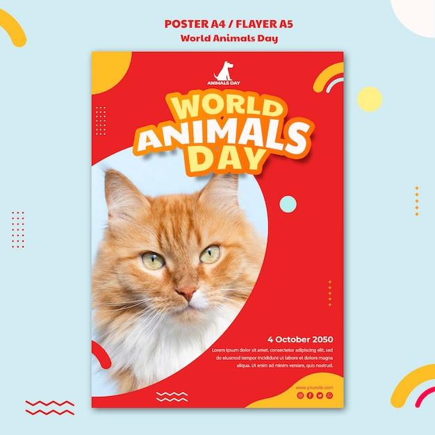 Шаблон флаера всемирного дня животных Бесплатные Psd