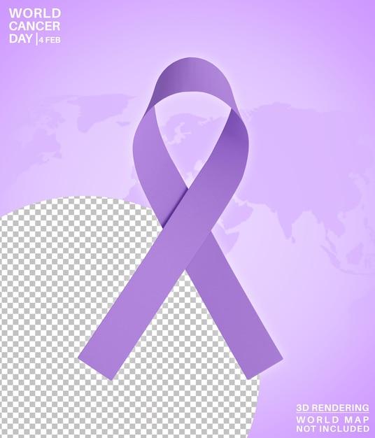 Всемирный день борьбы против рака символ месяца 3d-рендеринга изолированные Premium Psd