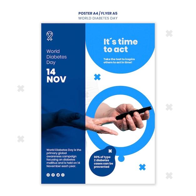 Шаблон флаера всемирного дня диабета Бесплатные Psd