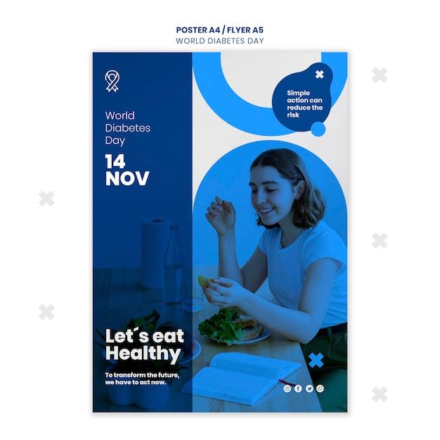 Шаблон плаката всемирного дня диабета Бесплатные Psd