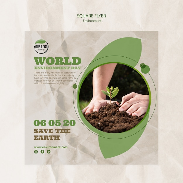 World environment day flyer template with hands and plant Free Psd