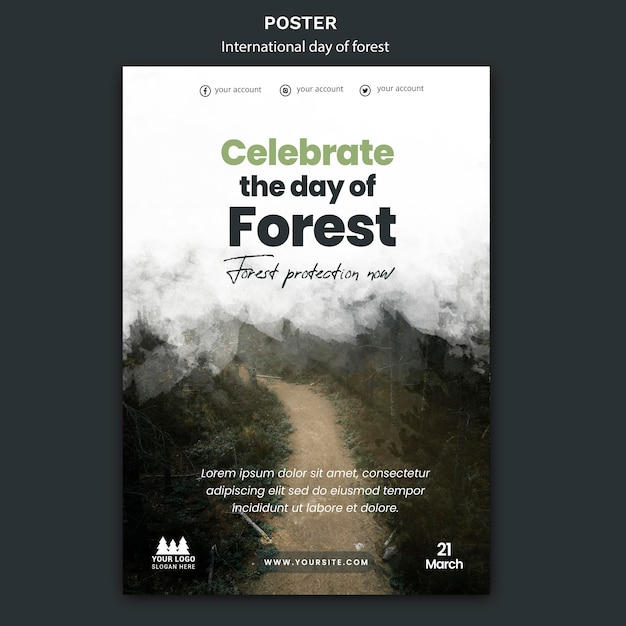 World forest day poster template Free Psd