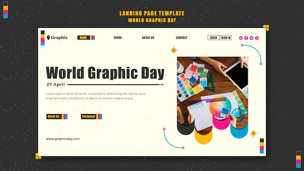 Шаблон целевой страницы всемирного дня графики Premium Psd