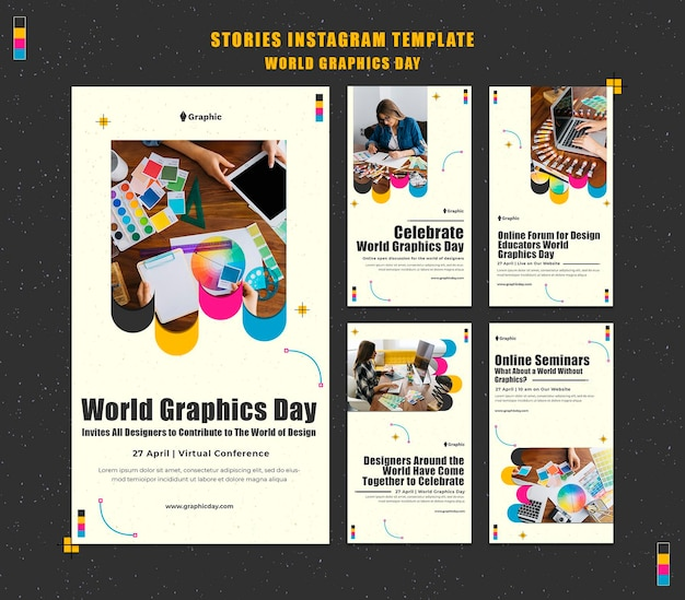 World graphics day social media stories pack Premium Psd