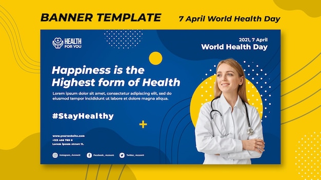 World health day banner template Free Psd
