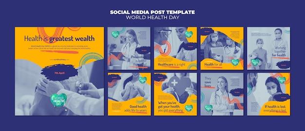World health day instagram posts set Premium Psd