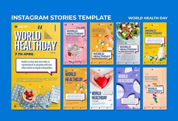 Modello di storie di instagram di giornata mondiale della salute Psd Gratuite