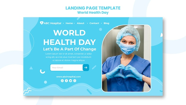 World health day landing page template Free Psd