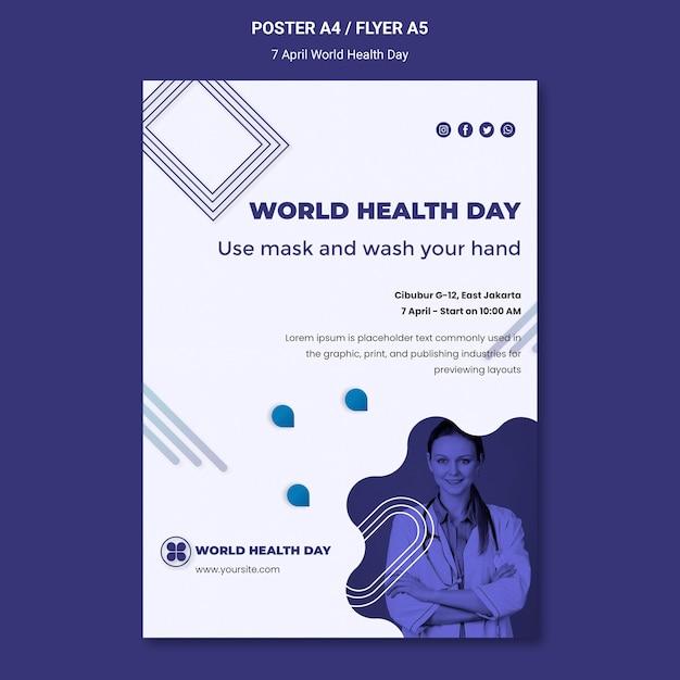 Шаблон плаката всемирного дня здоровья Бесплатные Psd