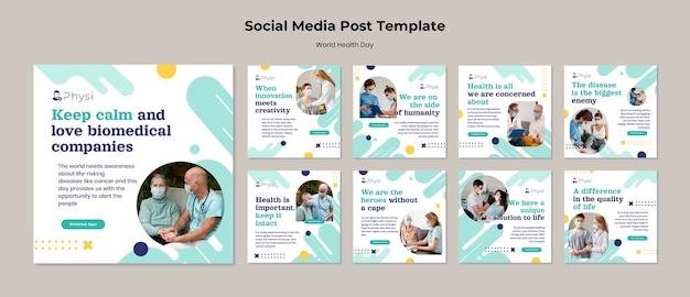World health day social media posts Premium Psd
