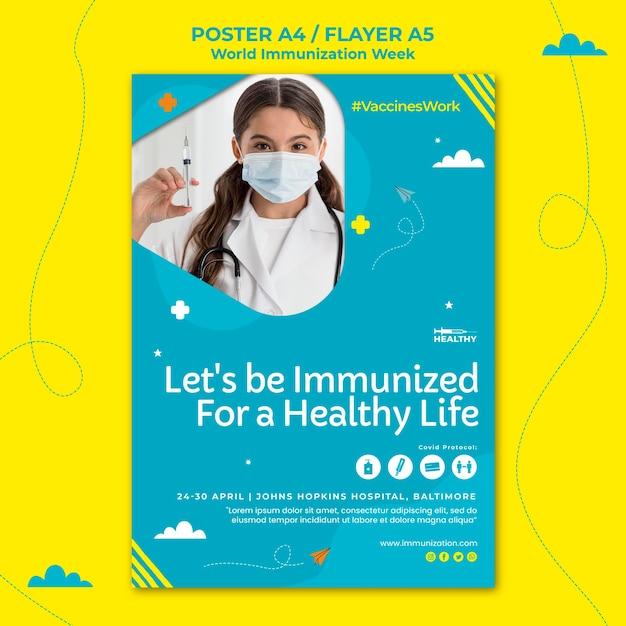 Modello di volantino della settimana dell'immunizzazione mondiale Psd Gratuite