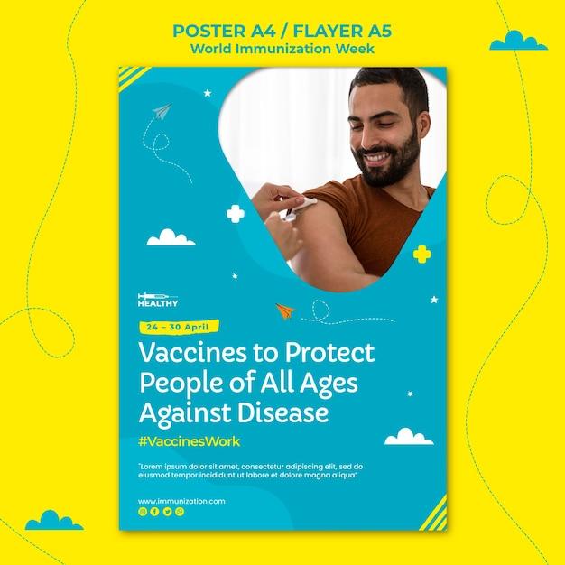 Шаблон флаера всемирной недели иммунизации Premium Psd