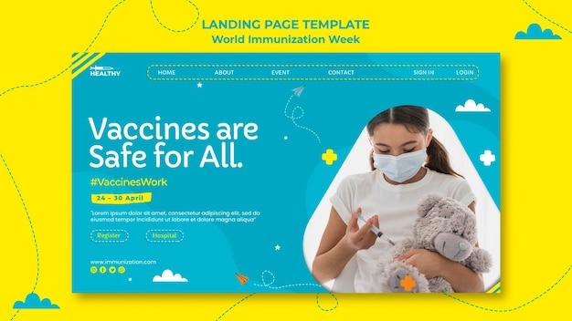 Pagina di destinazione della settimana mondiale dell'immunizzazione Psd Gratuite