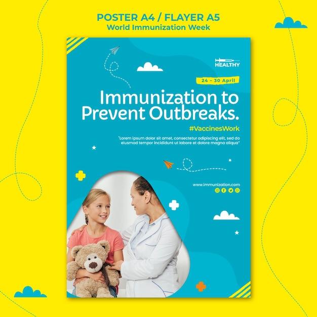 Шаблон плаката всемирной недели иммунизации Бесплатные Psd
