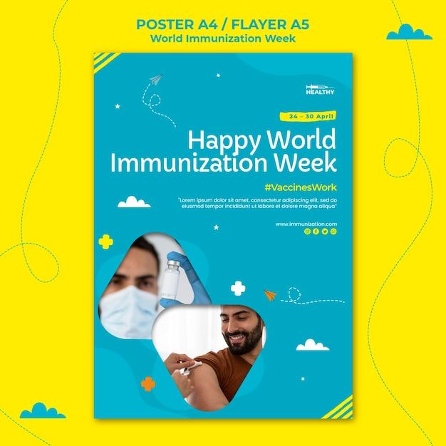 Modello di poster della settimana dell'immunizzazione mondiale Psd Gratuite