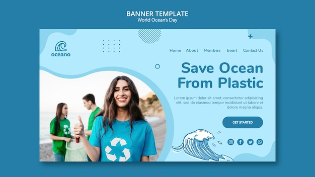 World ocean's day banner template Free Psd