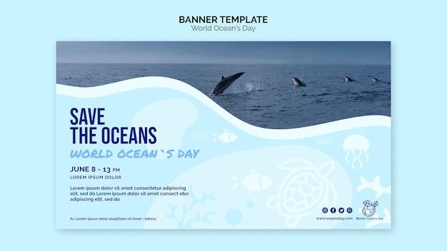 Modello dell'insegna di giornata mondiale dell'oceano Psd Gratuite