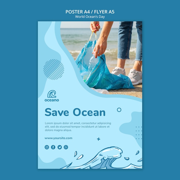 World ocean's day flyer template Free Psd
